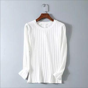White Super Soft Cozy Rib Knit Sweater